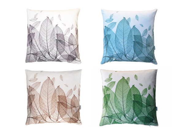grey leaves cushion cover